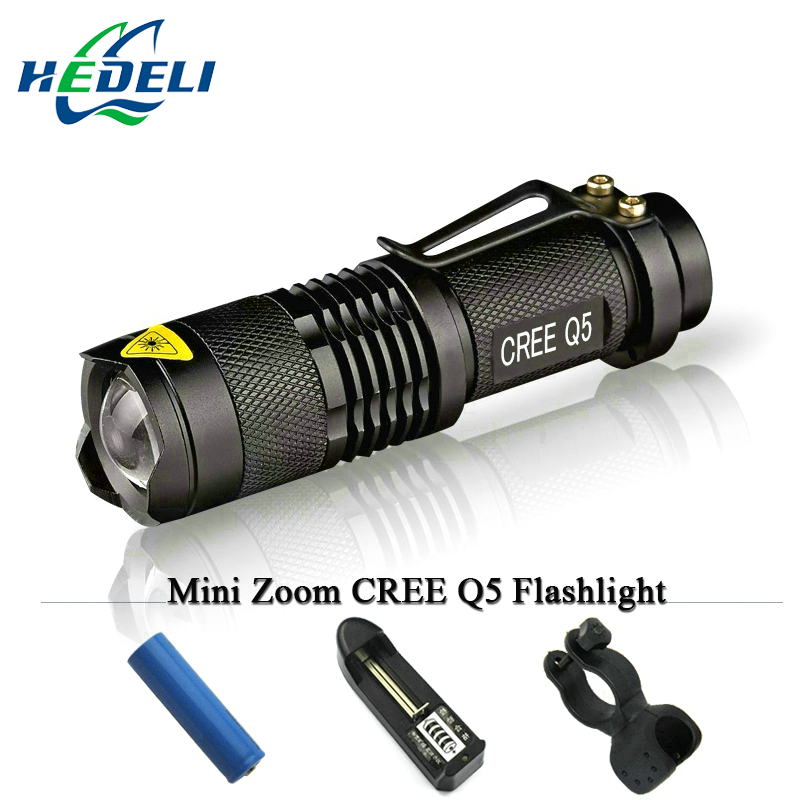 Mini cree xm l led rechargeable flashlight torch zoom lanterna 3 Modes waterproof light Use 14500 OR AA  battery 2000LM 10pcs in 1 free shipping flashlight lanterna q5 led mini black cree 2000lm led flashlight 3 modes zoomable led torch light zk50