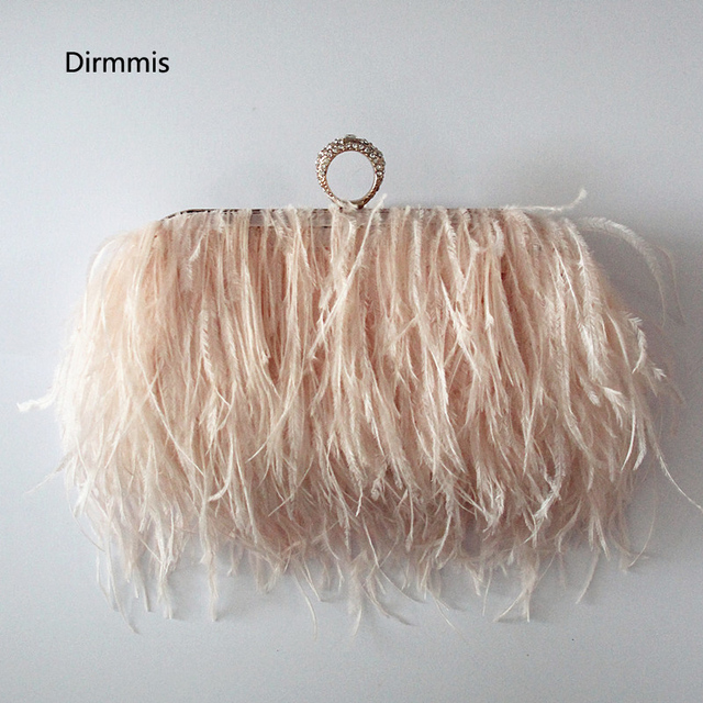 99bac2182448 2018 Women messenger bag brand fashion wallet elegant Ostrich feather  shoulder bag lovely sweet Bridesmaid handbag Luxury Clutch