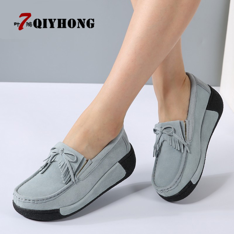 2018 Spring Women Casual Shoes   Suede   Genuine   Leather   Platform Flats Tassel Slip-On Ladies Creepers Shoes Red Fur Winter