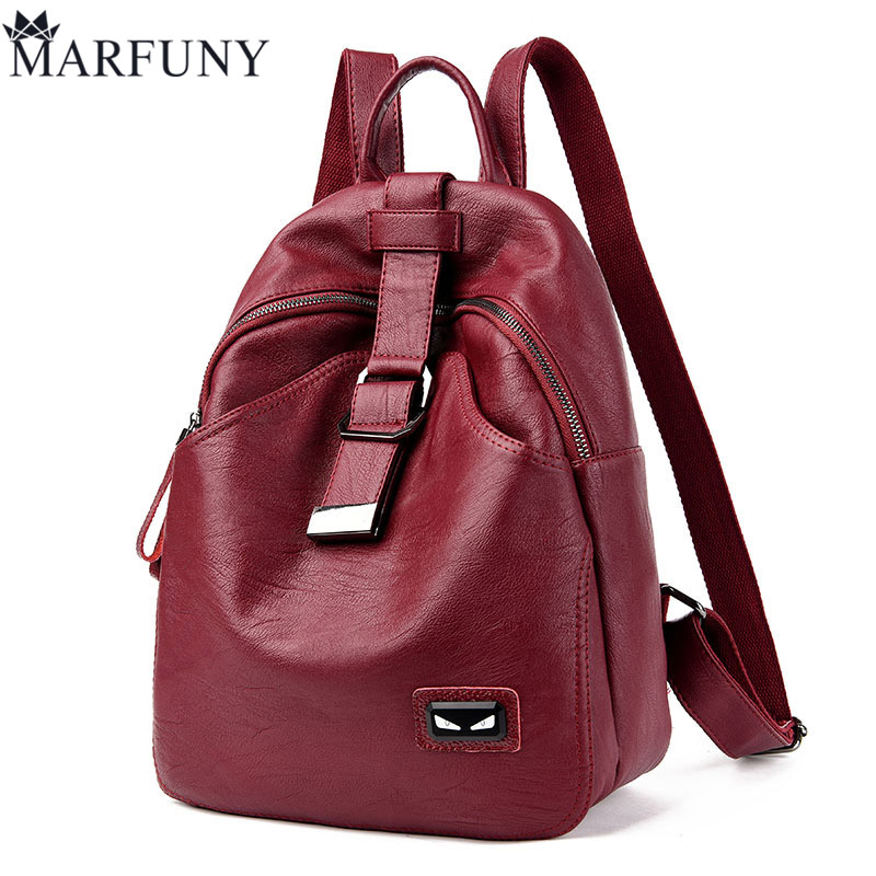 MARFUNY Brand Women Backpack High Quality Split Leather Backpack Large Capacity Shoulder Bags Female Backpack Casual Daily Bag luxury brand women split leather handbag high quality pu leather shoulder bag large capacity totes cattle split hand bag for mom