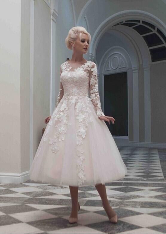 Little White Tea Length Wedding Dresses Vintage Lace Tulle Appliques ...