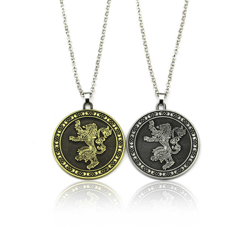 Hot TV Series Game Of Thrones Pendant Necklace Metal Alloy House Stark Targaryen Lannister Baratheon Logo Statement Jewelry Gift