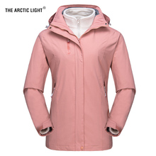 THE ARCTIC LIGHT Womens Winter Outdoor Camping Hiking Fleece Jacket Skiing Female 2 Pieces Water Repellent Thermal Hooded Coat