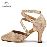 Rhinestone Latin Dance Shoes Woman high Heel 7cm 8cm Ballroom Tango Salsa Dancing Sandals Shoes 5cm 6cm Gold Silver #91