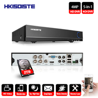 HKIXDISTE AHD 4MP 4ch DVR Onvif 4.0MP цифрового видео Регистраторы HDMI Выход CCTV NVR H.264 Поддержка аналоговый AHD TVI CVI IP камера