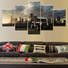 купить 5 Pieces Canvas Painting Printed on Canvas Wall Art Dusk City Building Car Landscape Picture Home Decor Modular Painting Frame по цене 332.17 рублей