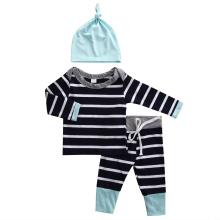 High Quality 3PCS 0-18M Newborn Kids Long Sleeve Striped Set Baby Boys Girls Cotton T-Shirt +Pants+Hat Autumn Outfit Clothes
