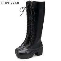 Fashion Women Knee High Boots 2016 Autumn Winter Thick Heel Martin Knight Riding Boots Black Lace