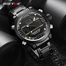 Мужские спортивные часы RISTOS из нержавеющей стали, аналоговые наручные часы, многофункциональные модные часы с хронографом Relojes Masculino Hombre 9338