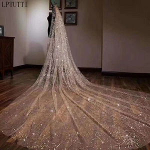 Image 4 - LPTUTTI Mantilla de lentejuelas de lujo, accesorios para tocado de boda, velo de novia largo de catedral con peine