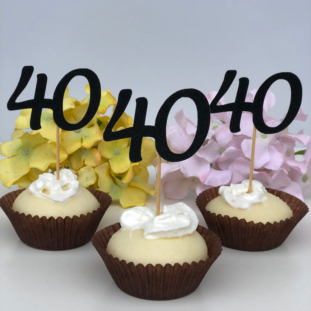 1st Wedding Anniversary Decoration Ideas At Home: 40th Birthday Cupcake Topper Edible Forty Anniversary