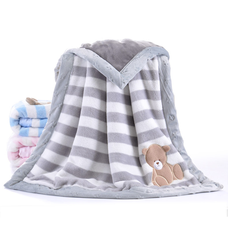 Baby Blanket Thermal Thicken Fleece Striped Blanket Infant Swaddle Nap Receiving Stroller Wrap For Newborn Baby Bedding Blankets free shipping infant children cartoon thick coral cashmere blankets baby nap blanket baby quilt size is 110 135 cm t01 page 5