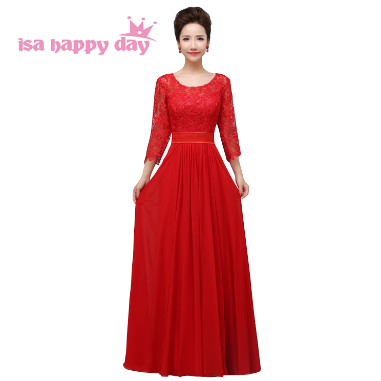 festa a line sleeve o neck red floor length maid of bride   bridesmaid     dresses   ladies bridal party   dress   bridal gown H2909