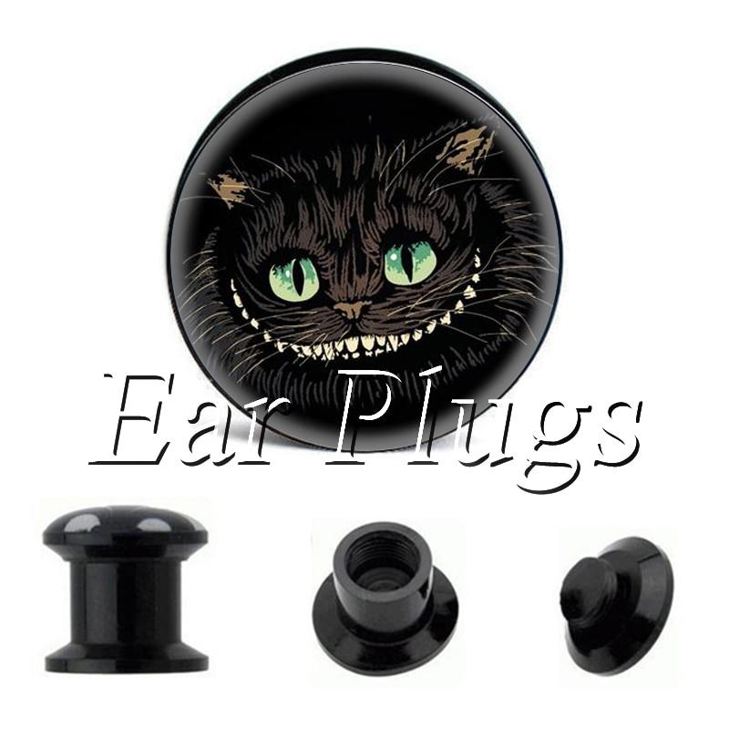 Wholesale Cheshire Cat plug gauges acrylic screw ear plug flesh tunnel piercing body jewelry