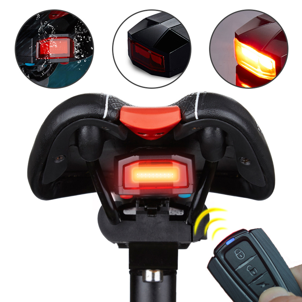 A3/A6 Bike Wireless Remote Control Burglar Alarm Tail Light USB Rechargeable LED Bicycle Taillights Cycling Safey Warn Rear Lamp