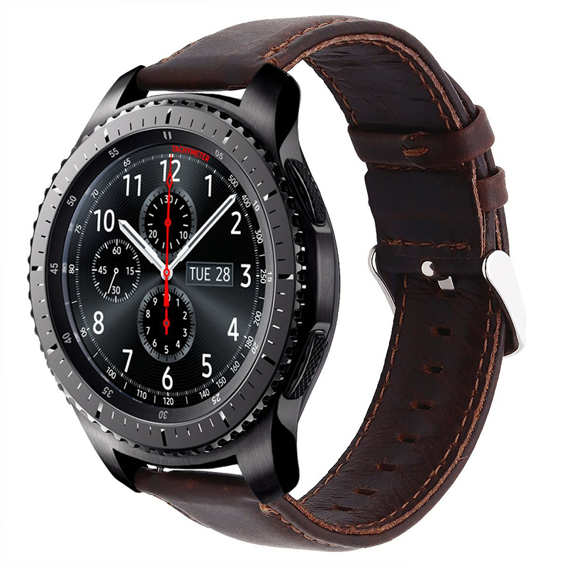 Crazy Horse Leather Strap Replacement Watch Band With Quick Release Spring Pin For Samsung Gear S3 Galaxy Watch 46mm
