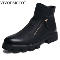 VIVODSICCO Spring/Winter Men's Chelsea Boots,British Style Fashion Ankle Martin Boots,Black Soft Leather Casual Shoes Chukka