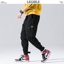 Czytelne mężczyźni gruby moro biegaczy spodnie męskie Hiphop kieszeń kostki spodnie Cargo męskie jesień Streetwear czarne kombinezony spodnie tanie tanio LEGIBLE Cargo pants Hip Hop REGULAR COTTON Poliester Kostki długości spodnie Midweight Mieszkanie Suknem Sznurek Men Thick Cargo Pants