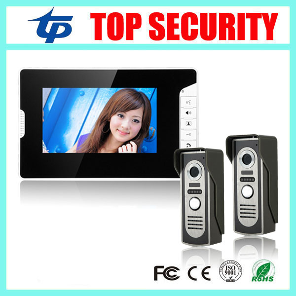 New arrival 7 color video door phone wired village video intercom video door bell optional rfid card reader access control rfid card access control 7 inch video door phone system with rfid card reader 200 users wired door bell door video intercom