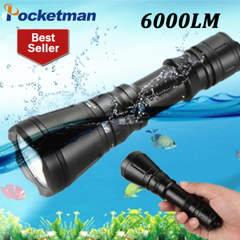 ФОТО Waterproof 6000Lumens 3CREE T6 Diving Flashlight LED Dive Lamp Scuba Underwater Hunting Lanterna Tactical Torche Lampe For Diver