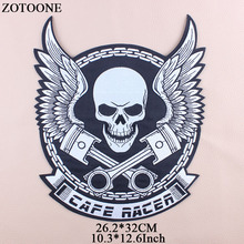 ZOTOONE Iron On Transfer Punk Patches For Clothes Jacket Big Skull Patch Applique Embroidery Rock Cloth Patch Biker stickers G genc riders turkiye custom motorcycle biker vest patch punk iron on embroidery patches free shipping