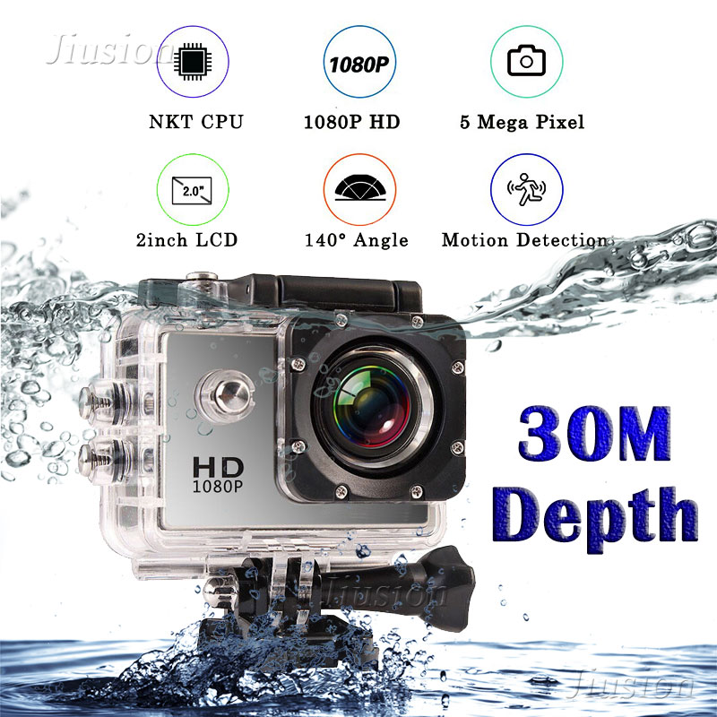 30M Waterproof Full HD 1080P Mini Camera Sport Action Camcorder Outdoor go pro 2 Screen Helmet Micro Cam Video DV DVR Recorder image