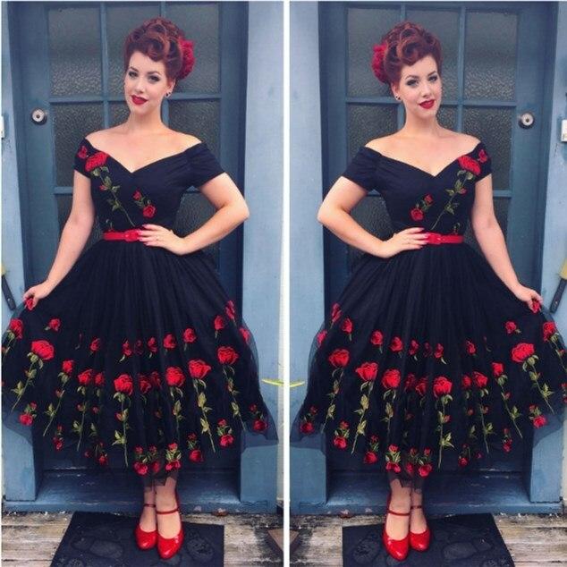 Plus Size 5XL 2019 Women Vintage Off Shoulder Mesh Lace Summer Dress Retro Rockabilly Big Swing Party Dresses