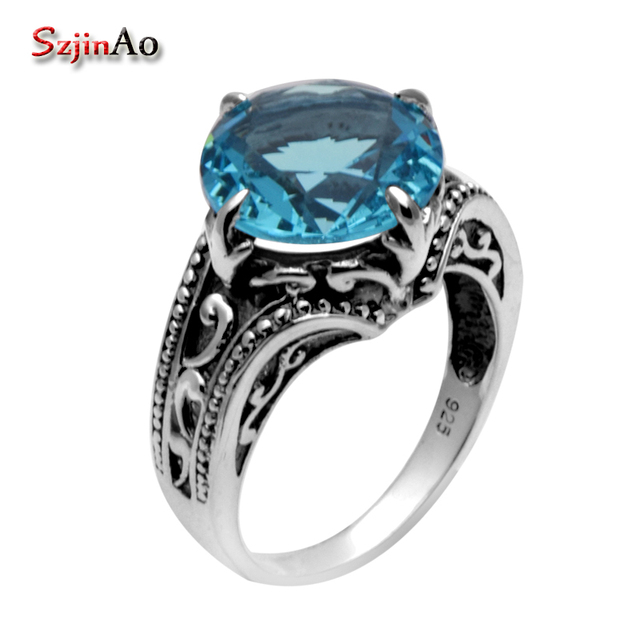 Szjinao 925 Sterling Silver Ring Fashion Blue Topaz Victoria Blue Topaz  Wedding Jewelry For Men And