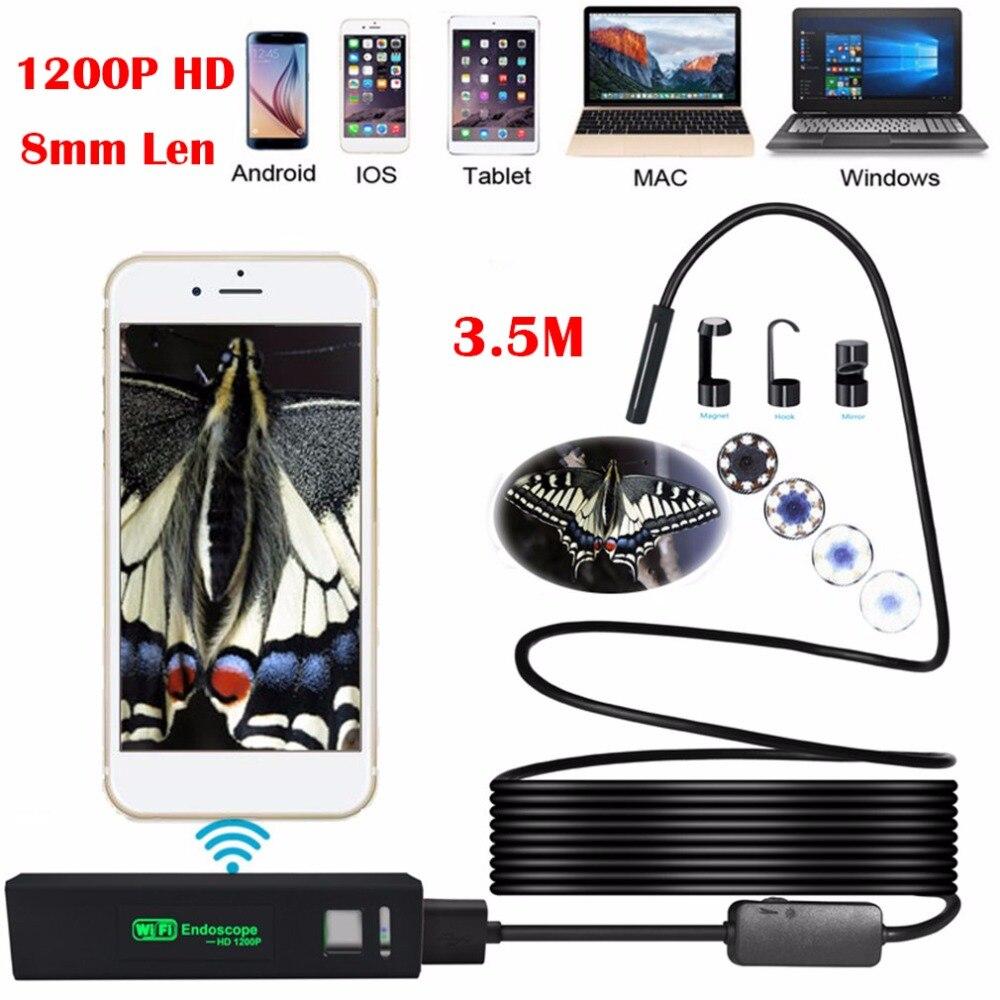 8LED 3.5 m Câmera Endoscópio WiFi 1200 P HD 8mm Borescope Câmera de Inspeção Da Tubulação Câmera Endoscópio IP68 À Prova D' Água Para IOS Android