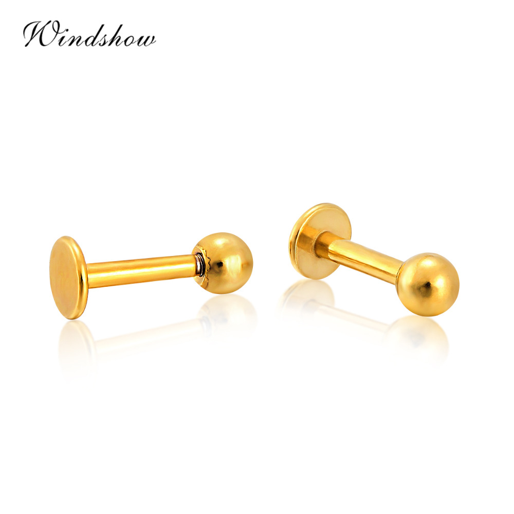 Yellow Gold Color Stainless Steel Hipsters Small Ball Stud Earrings Piercing  Nose Ear Cartilage Body Jewelry For Mens Womens