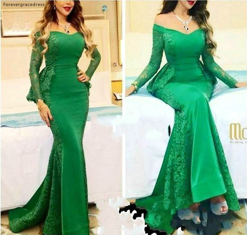 Myriam Fares Long Sleeves Evening Dresses Mermaid Red Carpet Formal Holiday Wear Celebrity Party Gowns Plus Size Custom Made