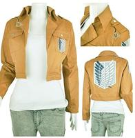 FREE PP Khaki Anime Attack on Titan Jacket Coat Cosplay Costumes Clothes