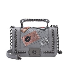 Fashion Design Women PU Leather Bag Chain Shoulder Bags Patchwork Female Messenger Bags Punk Style Ladies Crossbody Bags