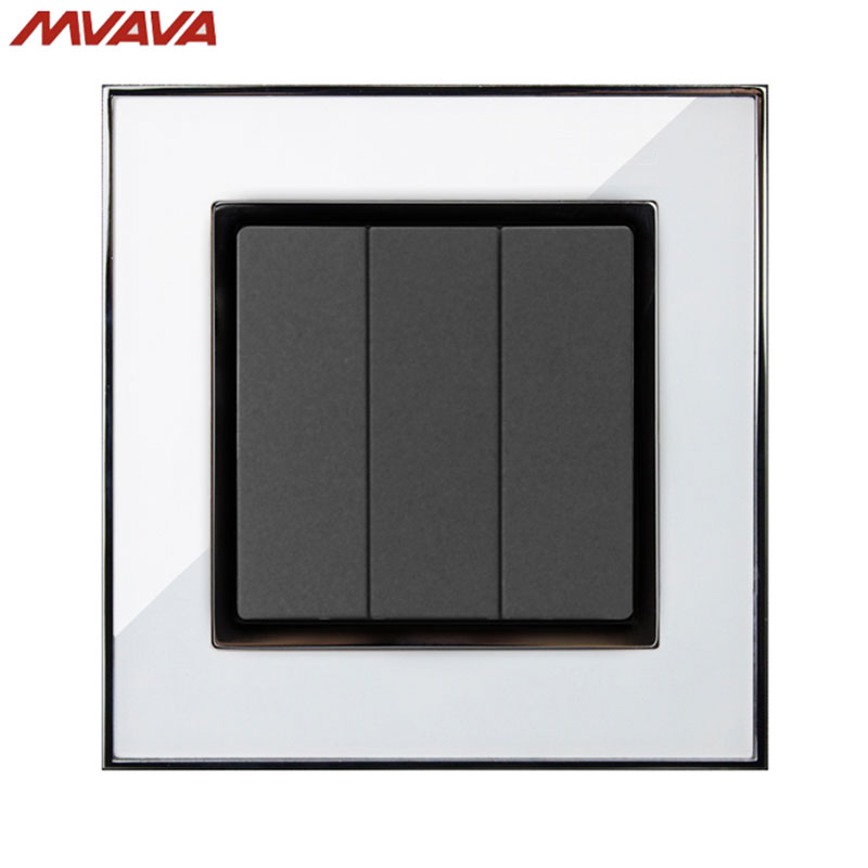 Us 8 88 48 Off Mvava 3 Gang 1 2 Way Control Wall Decorative Light Switch Eu Uk Standard Push Button Luxury Mirror White Switch Free Shipping In