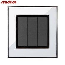 MVAVA 3 Gang 1/2 Way Control Wall Decorative Light Switch EU/UK Standard Push Button Luxury Mirror White Switch Free Shipping