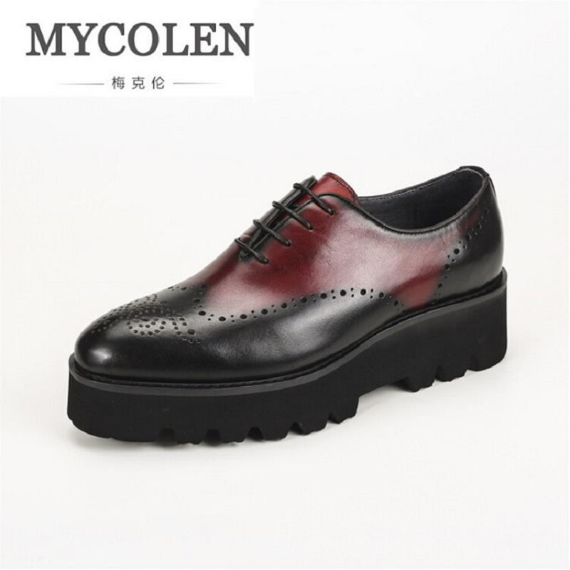 MYCOLEN Italian Luxury Brand Dress Top Quality Leather Brown Wedding Shoes Height Increasing Hollow Carved Male ShoesMYCOLEN Italian Luxury Brand Dress Top Quality Leather Brown Wedding Shoes Height Increasing Hollow Carved Male Shoes