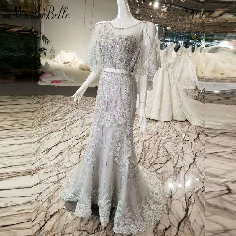 Modabelle dentelle Cape perlée Longue Robe de soirée sirène 2018 Dubai Robe Longue soirée gris robes longues pour bal Formele Jurk