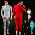 1 conjunto (tops & calças) 2016 Básico o-pescoço roupa interior térmica dos homens de inverno de algodão quente ceroulas soild cor para os homens