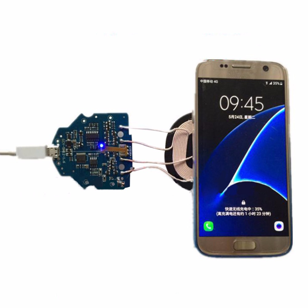 High Quality 10W Qi Fast Charging Wireless Charger PCBA Circuit Board With Dual 2 Coils