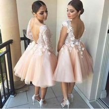 Lovely Short Homecoming Dresses 2017 New V Neck Appliques Girls Prom Cocktail Party Gowns