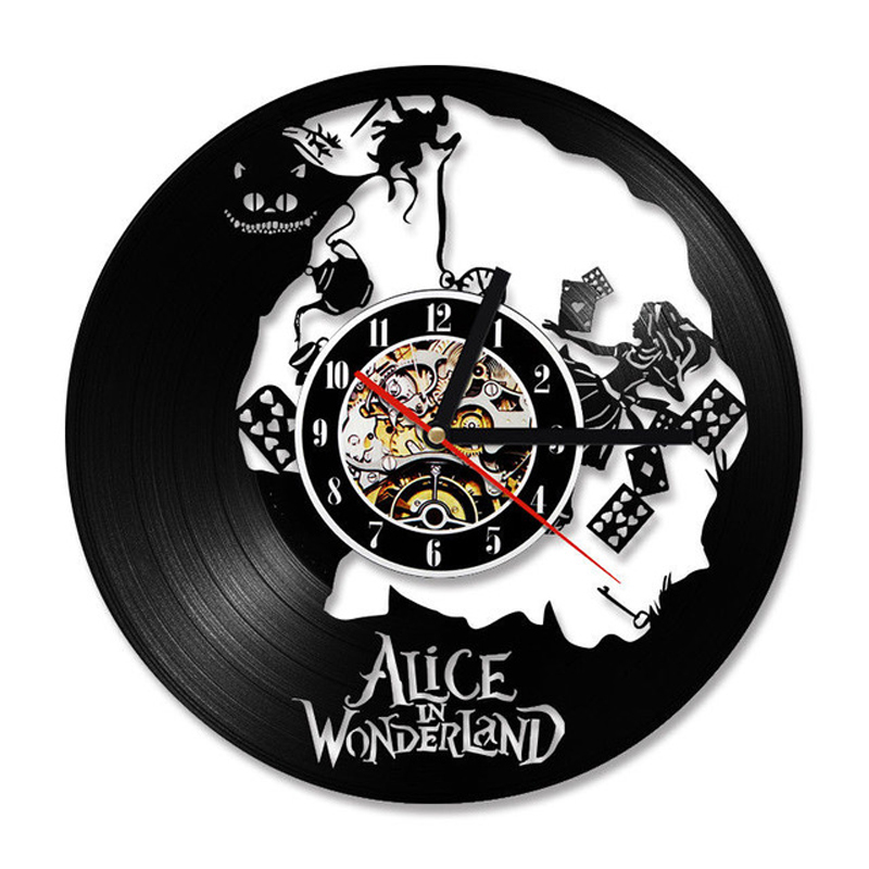 Vinyl Record Wall Clock Modern Design Cartoon 3D Stickers Decorative Kids Room Alice In Wonderland Clocks Wall Watch Home Decor