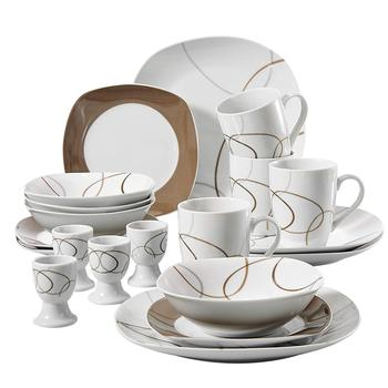 VEWEET NIKITA 20-Piece Kitchen Porcelain Dinner Plate Combi-Set Tableware Set with 4*Egg Cup,Mug,Dessert Plate,Bowl,Dinner Plate