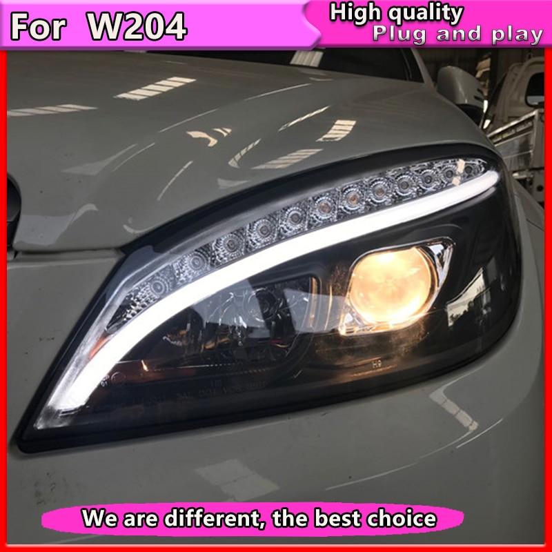 Car Styling for Mercedes Benz W204 C180 C200 C260 Headlights 2007-2011 Auto LED Headlight DRL Double Lens  Beam HID bi Xenon