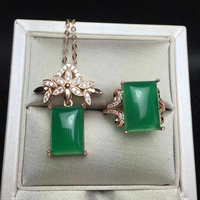 Rectangle Natural Gemstone Jewelry Green Chalcedony Women 925 Silver Jewelry Set Rose Gold Wedding Ring/Necklace Sets YJS016