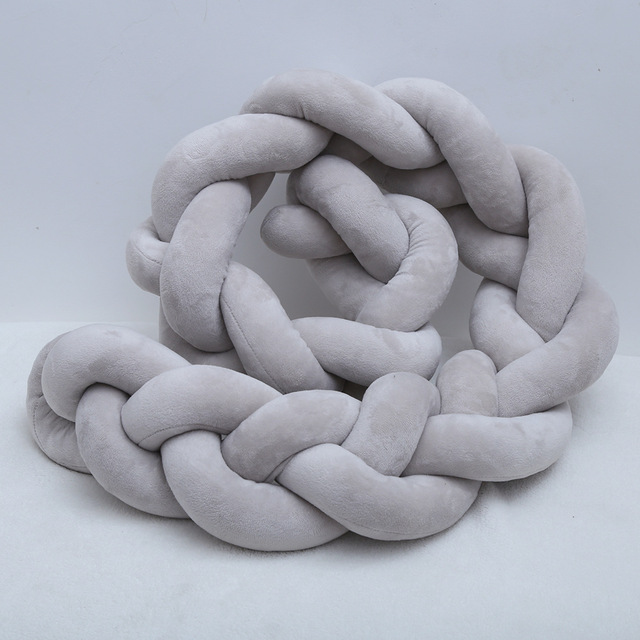 Ins Nordic Plush Stuffer Long Knotted Braid Pillow Baby Crib Bumper Cushion Set Plush Knot Pillow Baby'S Room Decoration Nordic 5