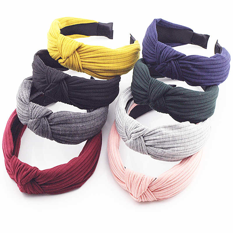 Knot Cross Tie  Solid 1 PC Fashion Hair Band Hairband  Knitted rib  Girls Bow  Hoop Hair Accessories Velvet  Twist  Headband