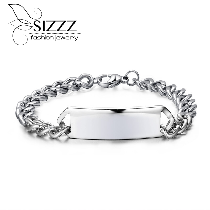 Cowboy Stainless Steel titanium personalized engraving charm chain Bracelet Bangles Wholesales Fashion Jewelry for man