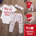Cute 3pcs Baby Girl Boy Clothes Set Love Suit Newborn Bodysuits Pants Short Sleeve My Valentine Outfits Clothing