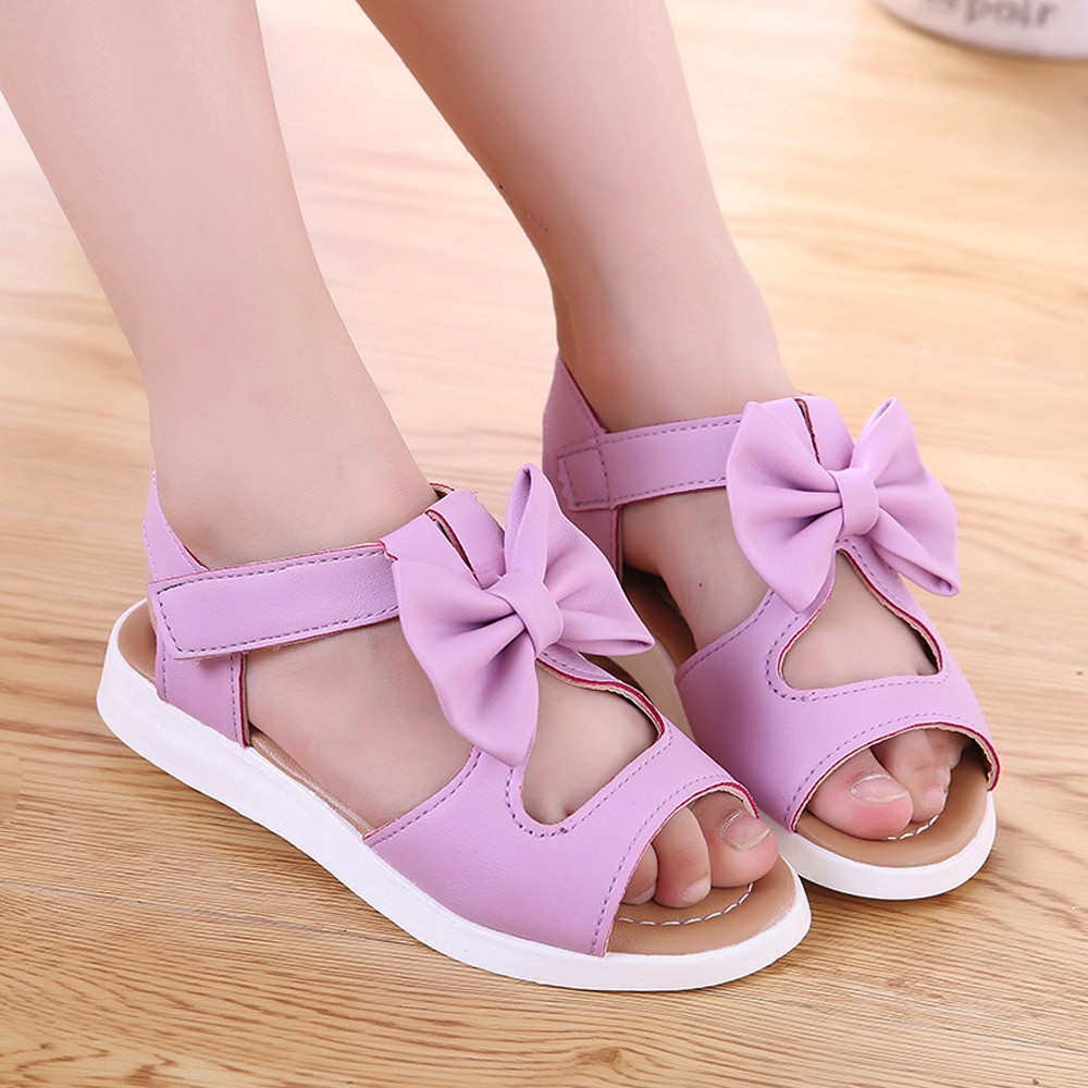 Summer Girls Sandals Solid And Bows Toddler Girl Sandal Cute And Comfortable Kids Sandals Anti-slip Chlidren Sandal