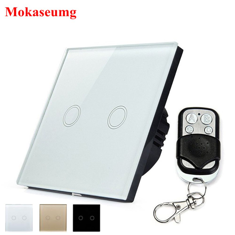 Mokaseumg Crystal Glass Panel Touch Switch EU Standard 2 Gang 1 Way Remote Control Light Switch Home Lighting Switch 220v 433 smart home eu standard 1 gang 2 way light wall touch switch crystal glass panel waterproof and fireproof